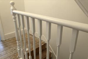 Painting banisters with Dulux Trade waterbased eggshell paint