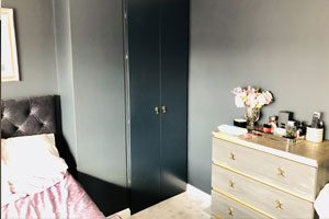 Painting MDF built-in wardrobe Dulux Trade Waterbased Eggshell paint in Canterbury