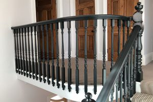 Interior painting - wooden panel and railings with Farrow & Ball paint